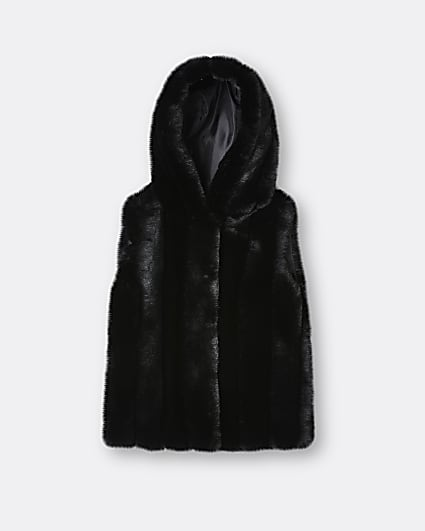 Girls black faux fur hooded gilet