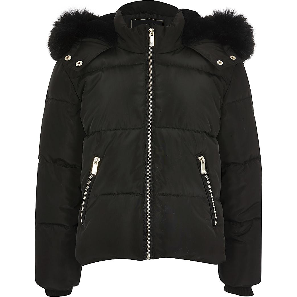 Veste matelassée noire à capuche bordée de fausse fourrure pour fille