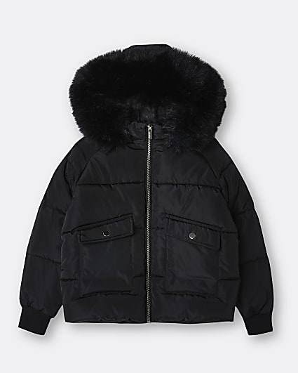 Girls black faux fur hooded puffer coat
