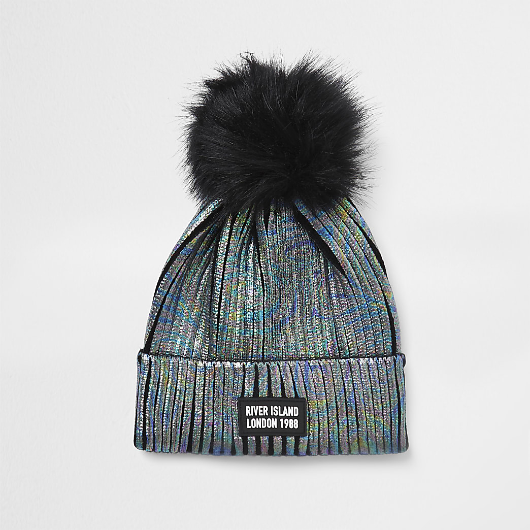 Girls black faux fur pom pom beanie hat