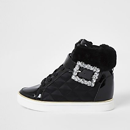 Girls black faux fur quilted satin high top