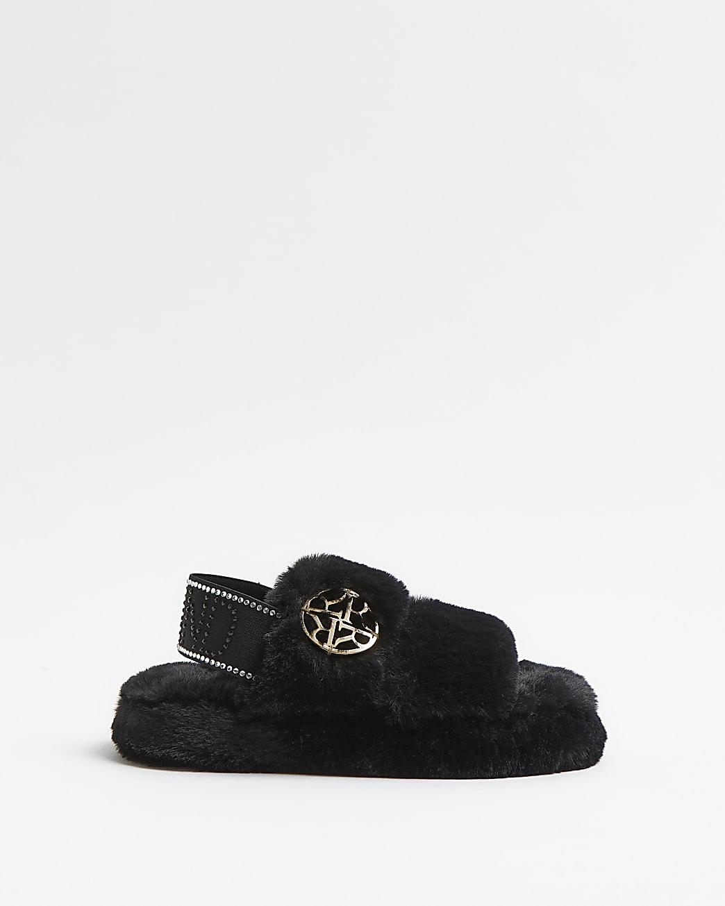 Girls black faux fur RI diamante slippers