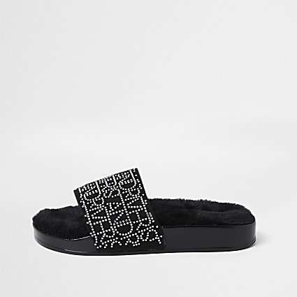 Girls black faux fur RI embellished sliders