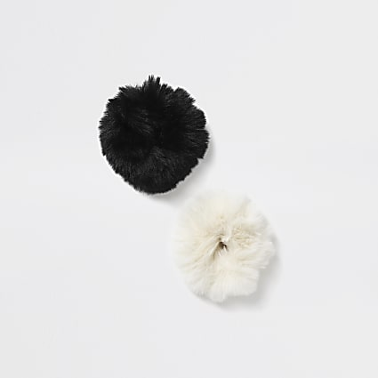 Girls black faux fur scrunchie 2 pack