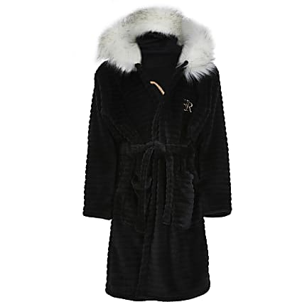 Girls black faux fur trim cosy dressing gown