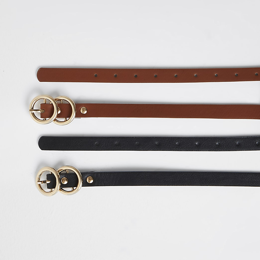 Girls black faux leather 2 pack belts