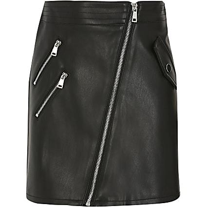 Girls black faux leather biker zip skirt