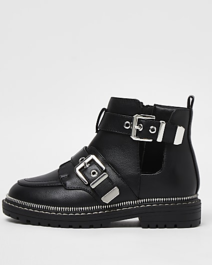 Girls black faux leather buckle boots