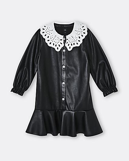Girls black faux leather collar shirt dress