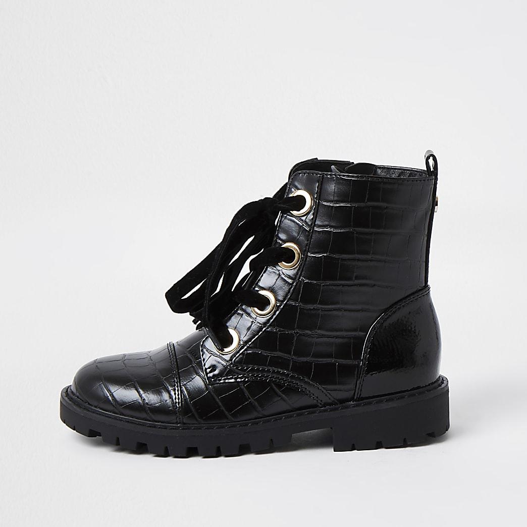 Girls black faux leather croc boots