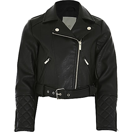 Girls black faux leather crop biker jacket