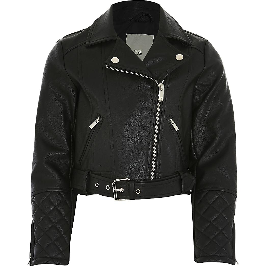 Girls black faux leather crop biker jacket