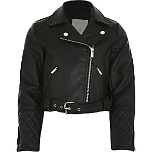 Girls black faux leather cropped biker jacket