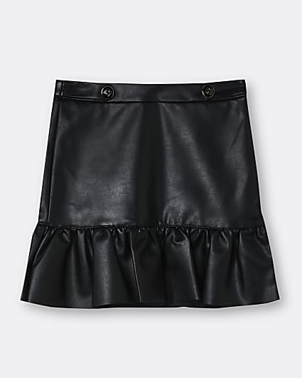 Girls black faux leather frill skirt