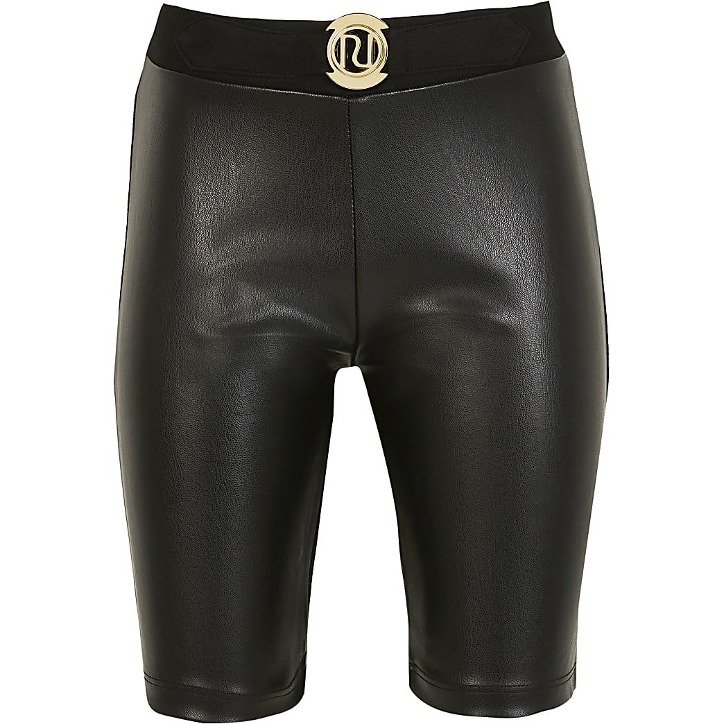 Girls black faux leather front cycling shorts