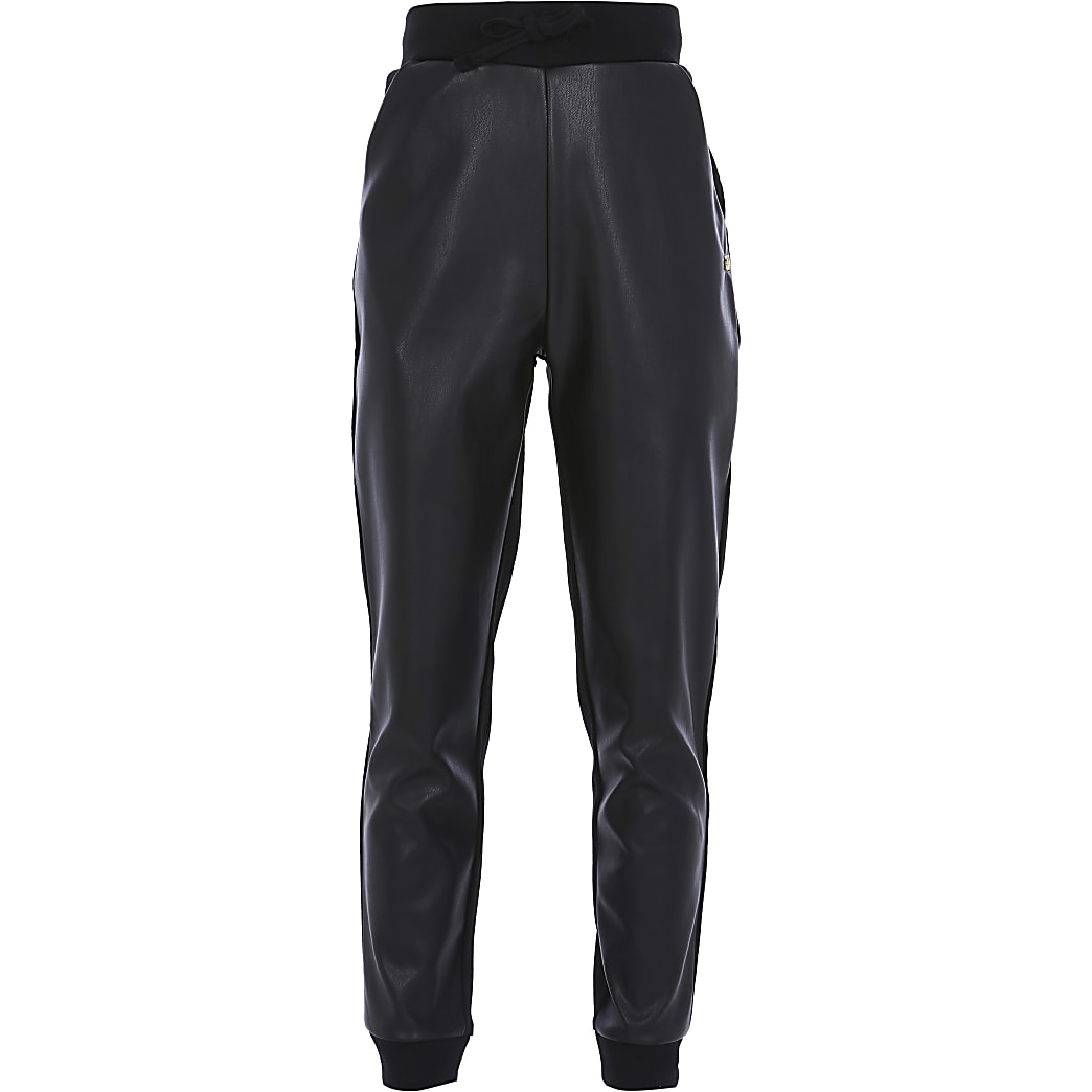 Girls black faux leather front joggers