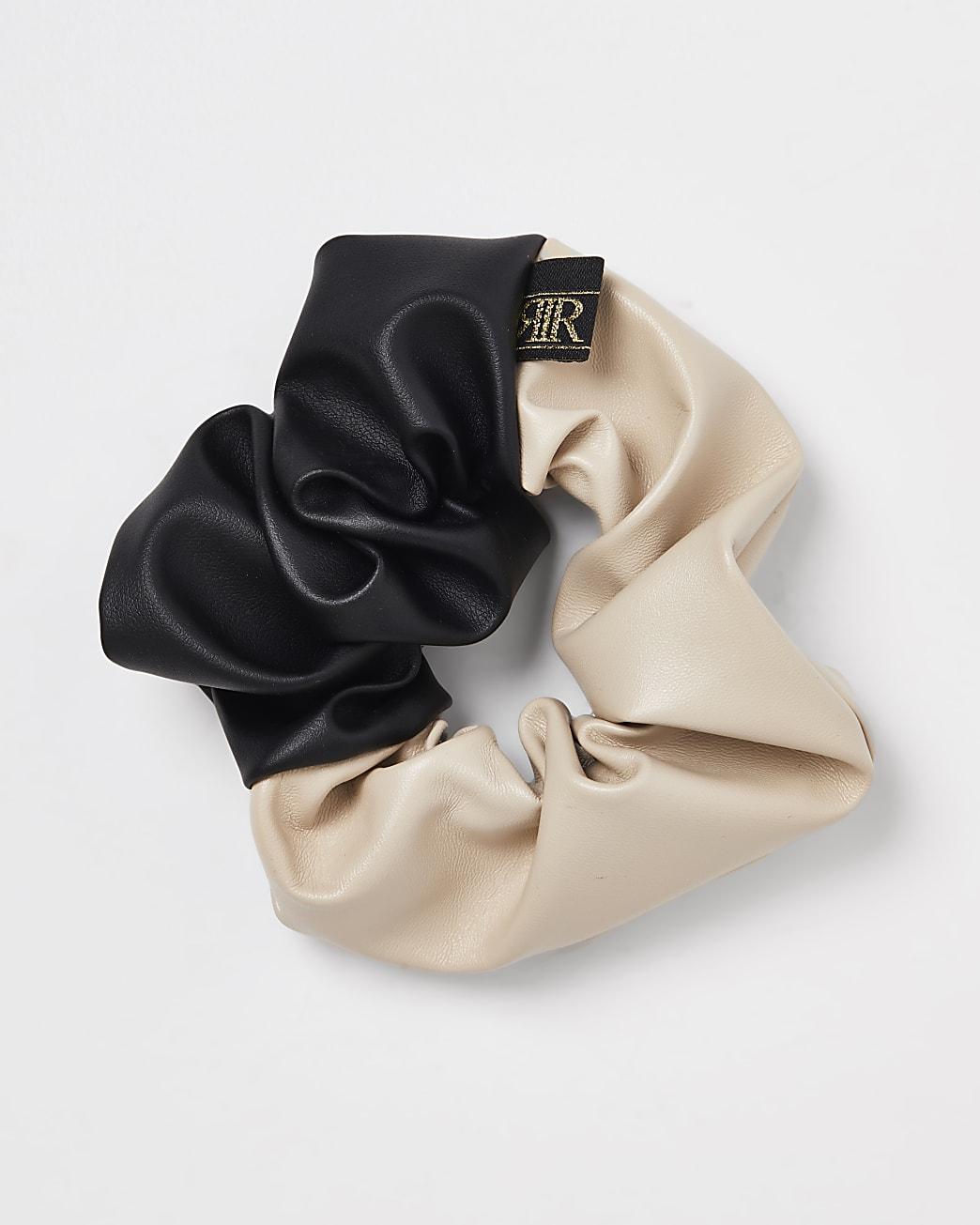 Girls black faux leather hair scrunchie