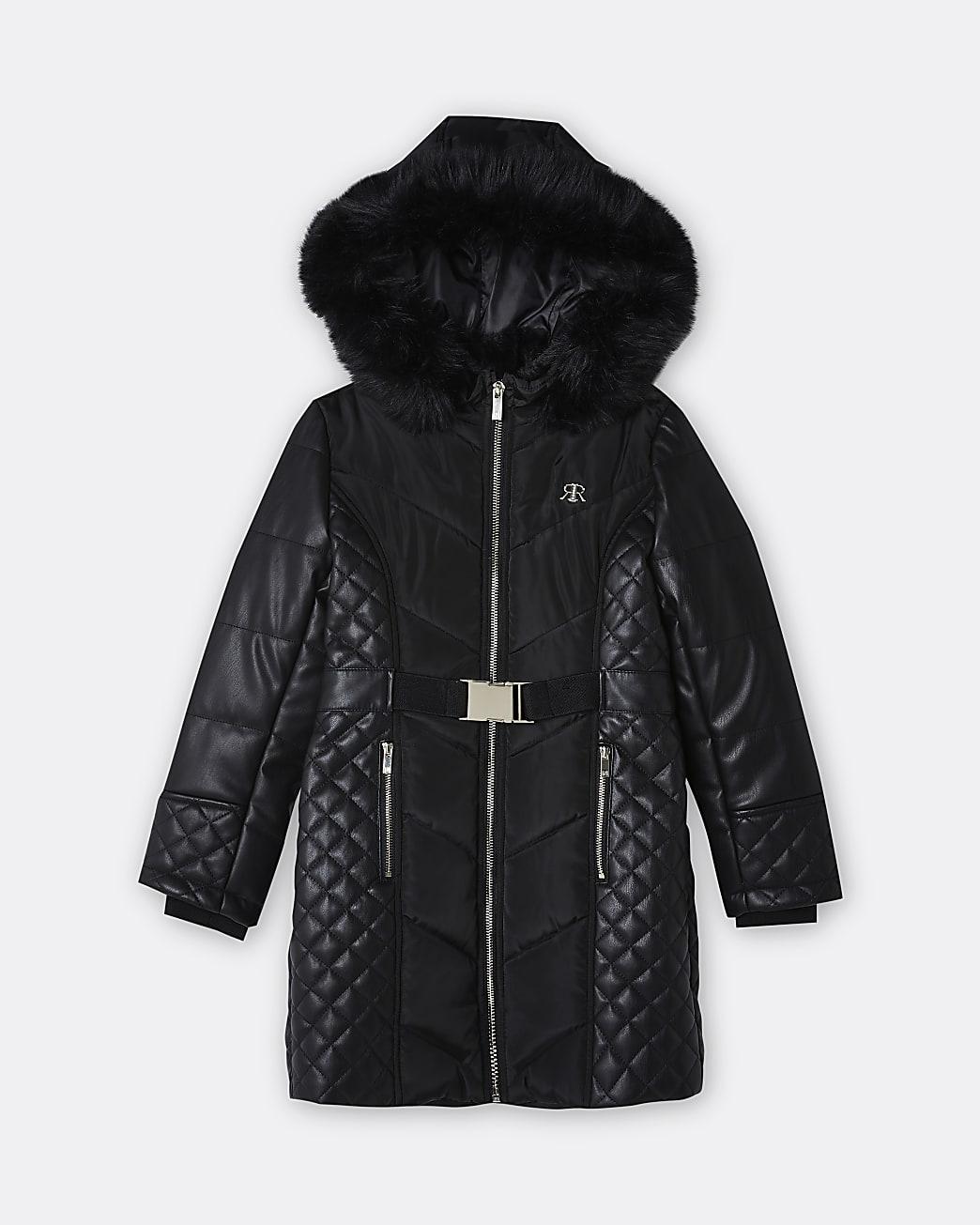 Girls black faux leather hood puffer coat