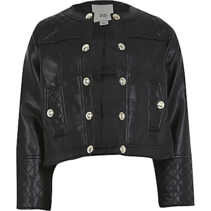 Girls black faux leather jacket