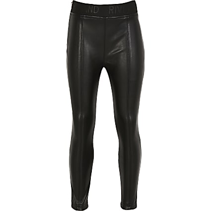 Girls black faux leather legging
