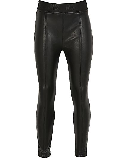 Girls black faux leather legging