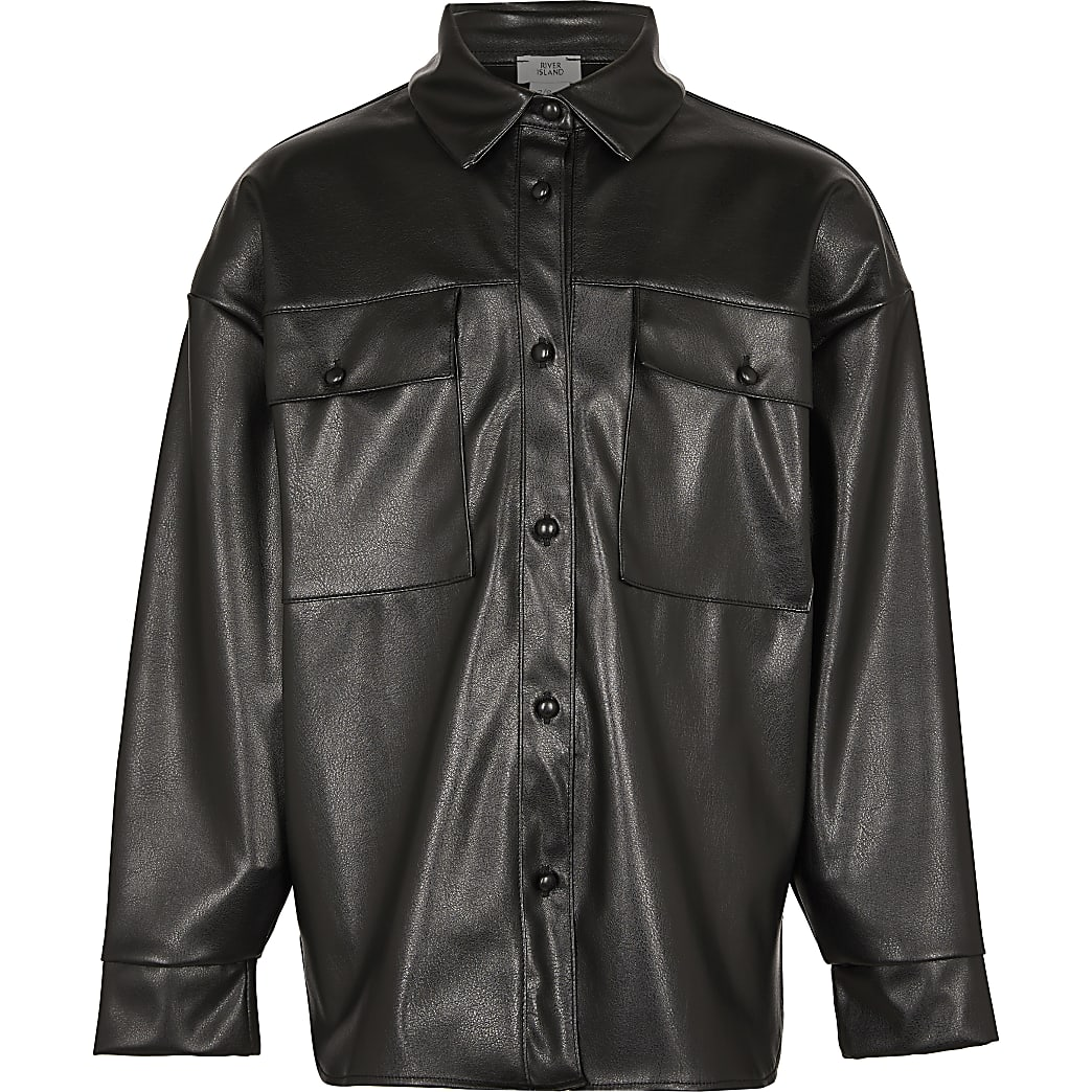 Girls black faux leather oversized shacket
