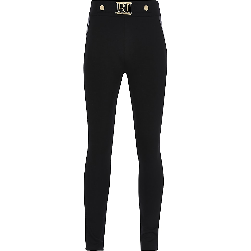 Girls black faux leather panel ponte leggings