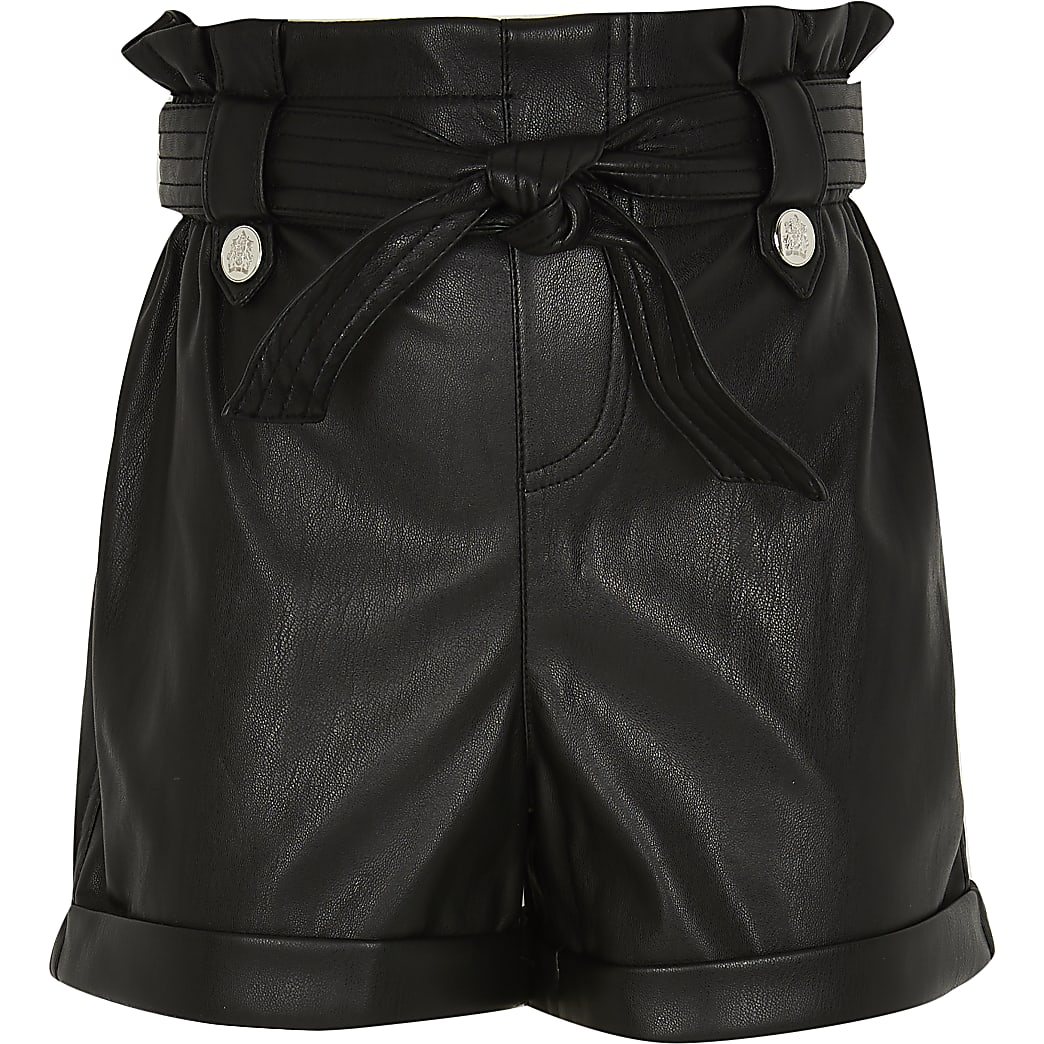 Girls black faux leather paperbag shorts