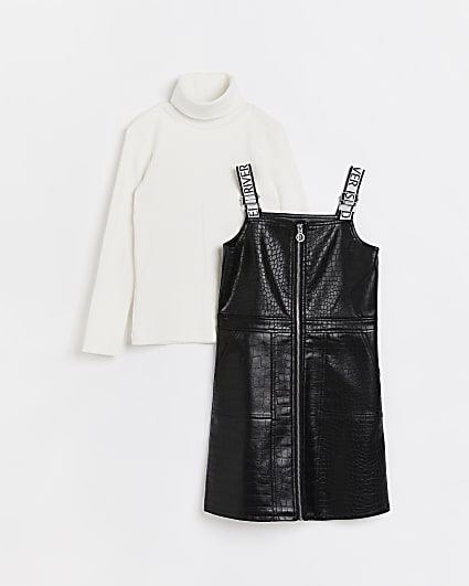 Girls black faux leather pinafore dress set