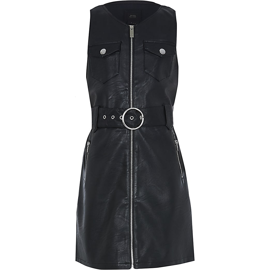 Girls black ​faux leather pinny dress