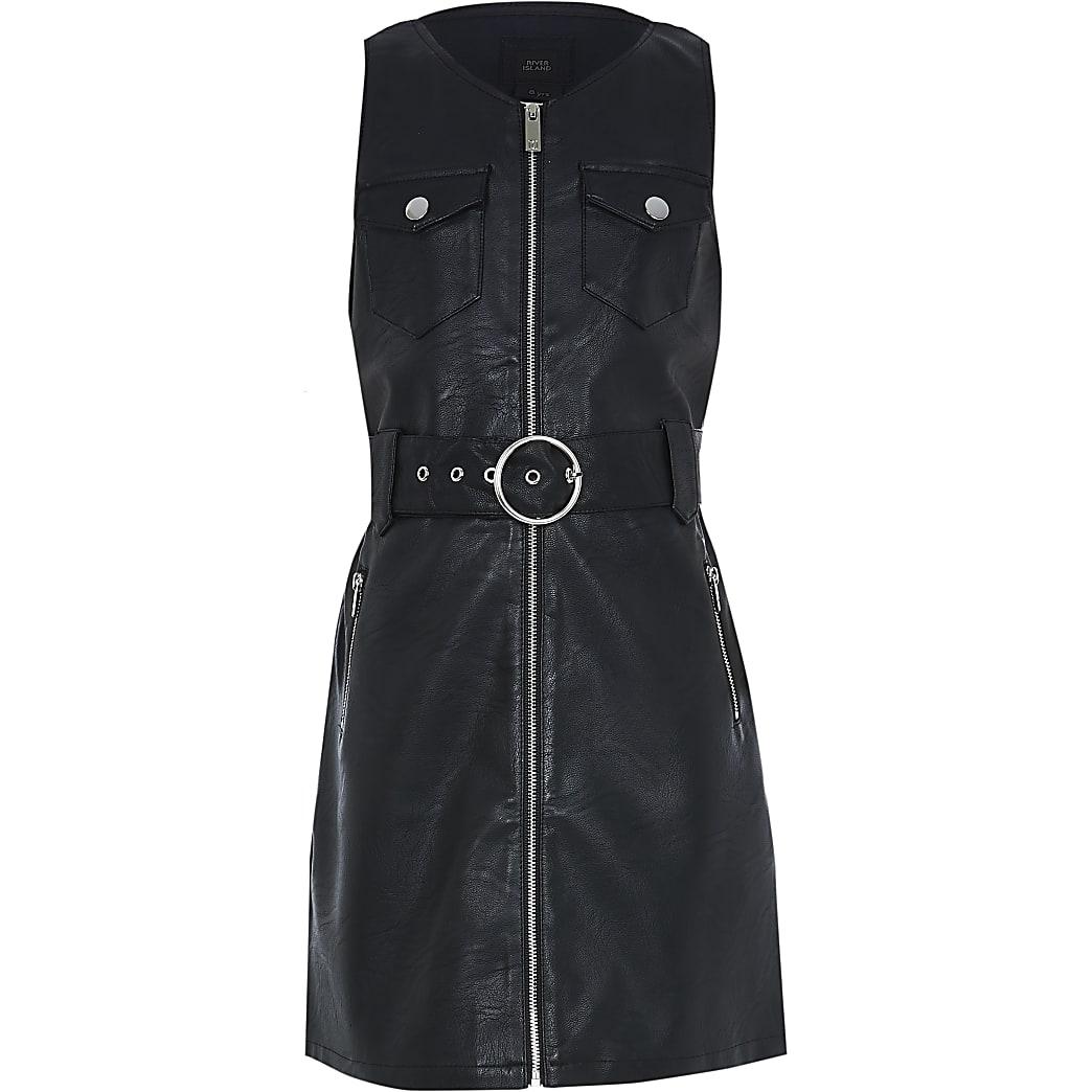Girls black faux leather pinny dress