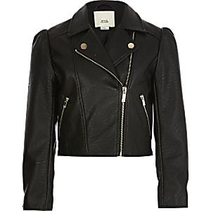 Veste en cuir synthétique noire à manches bouffantes pour fille