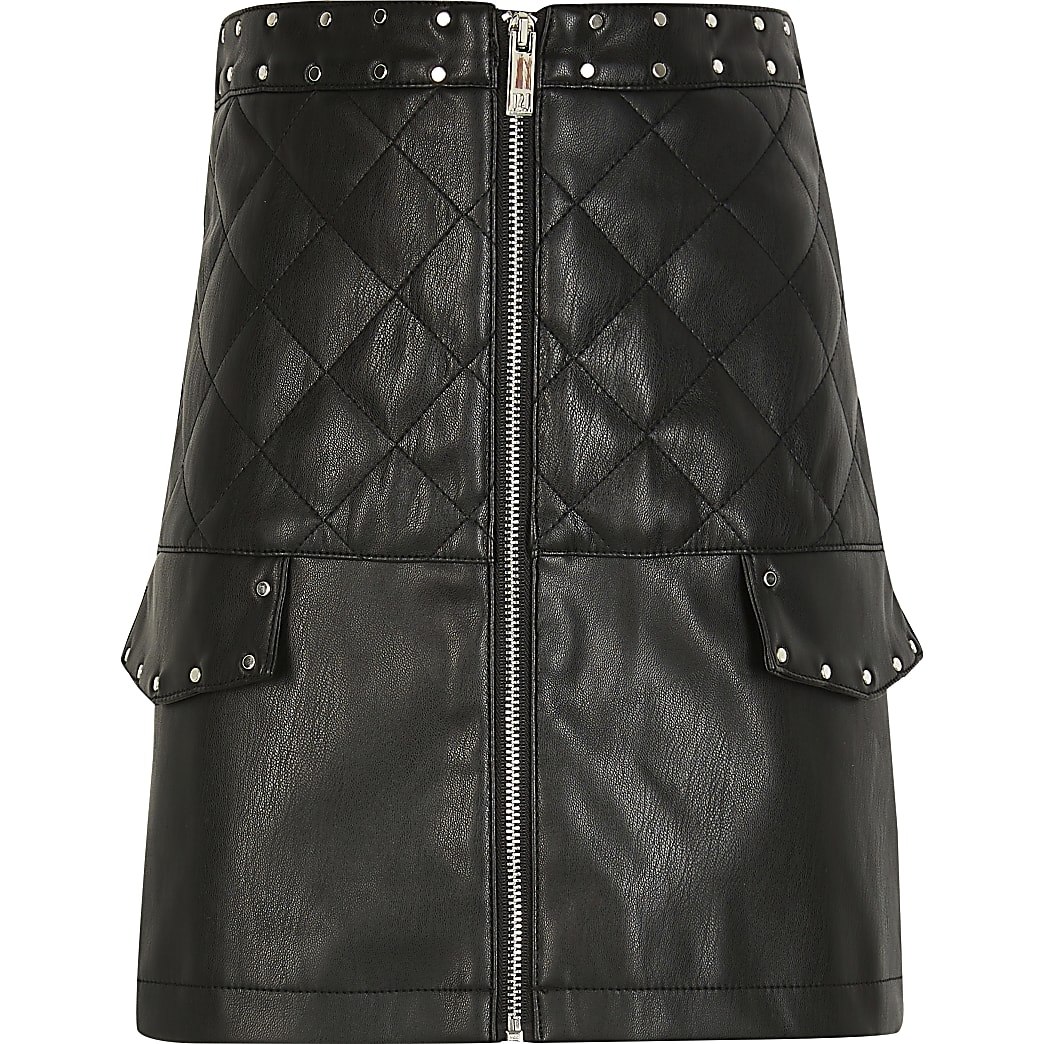 Girls black faux leather quilted pocket skirt