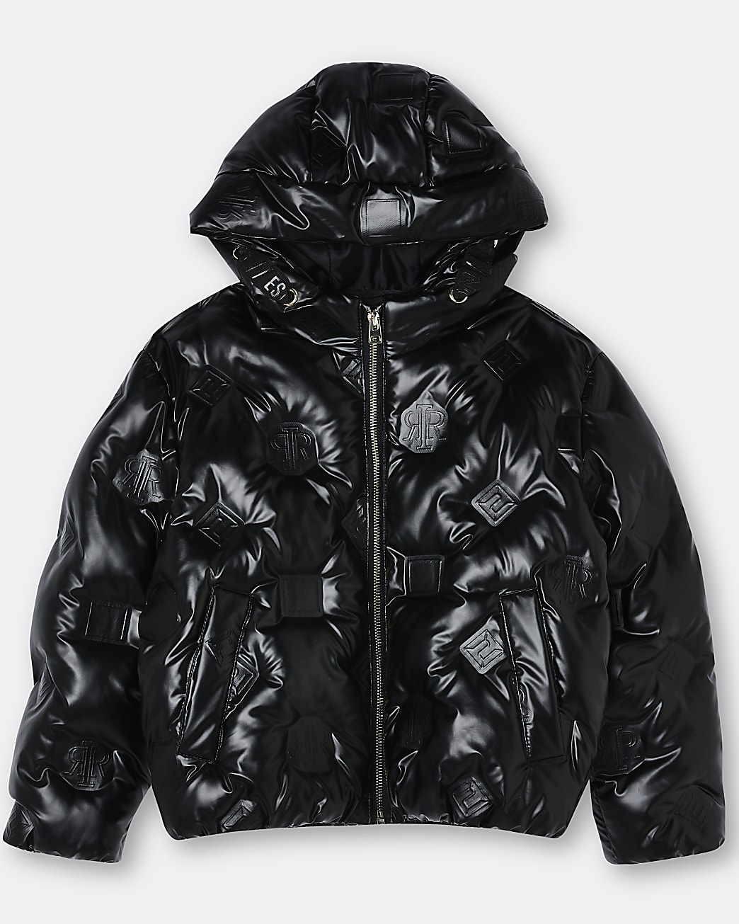 Girls black faux leather RI bomber coat