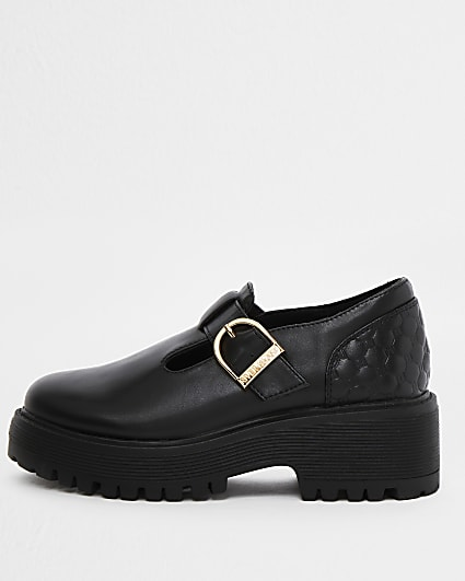Girls black faux leather RI embossed shoes