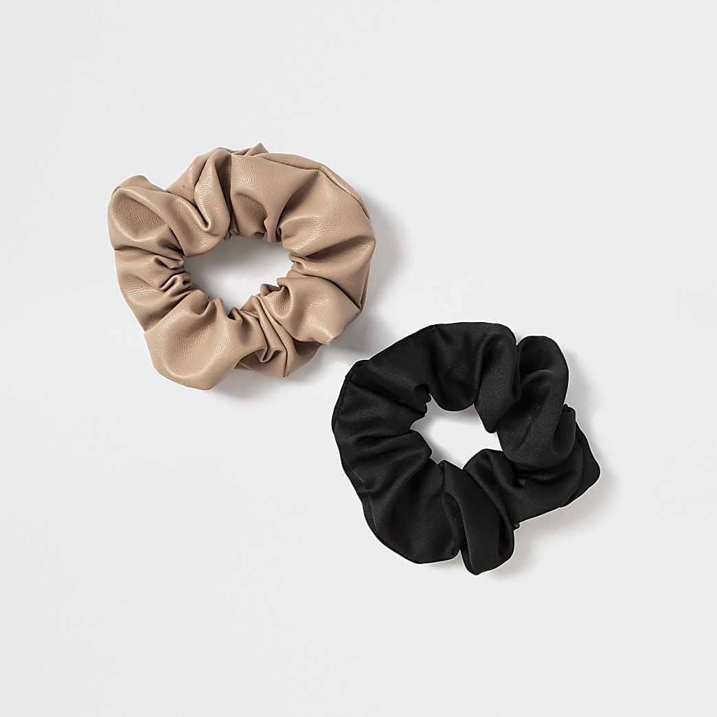 Girls black faux leather scrunchies 2 pack