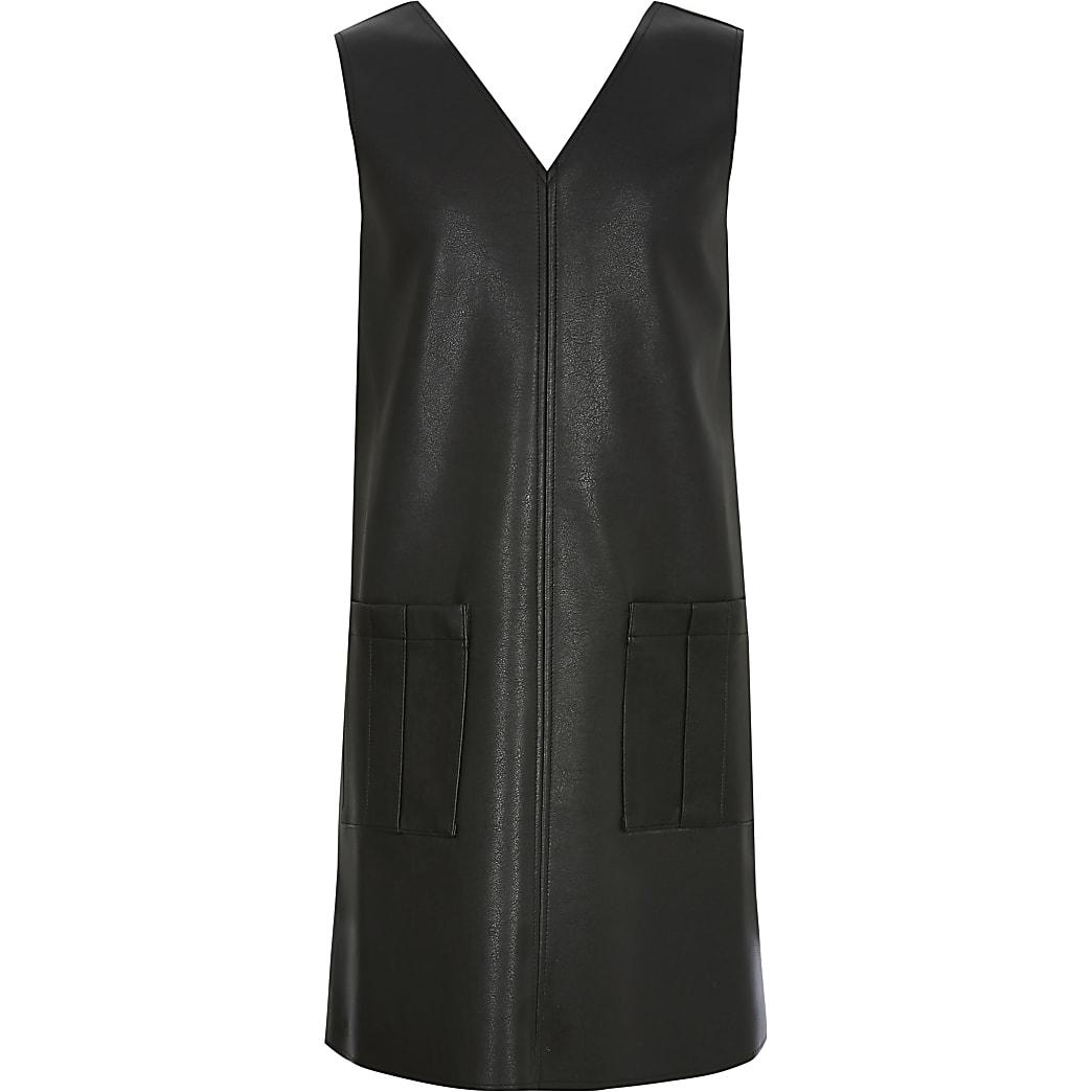 Girls black faux leather shift dress