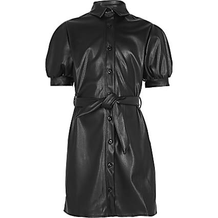 Girls black faux leather shirt dress