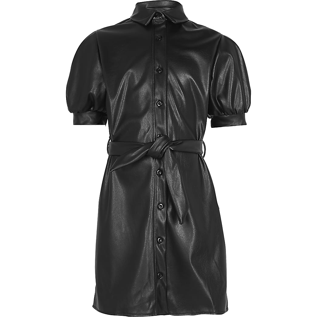 Girls black faux leather shirt dress