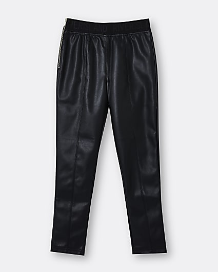 Girls black faux leather skinny trousers