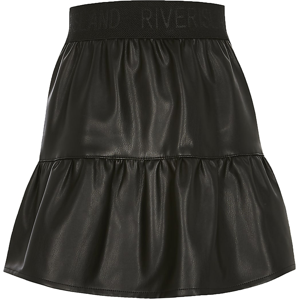 Girls black faux leather tiered mini skirt
