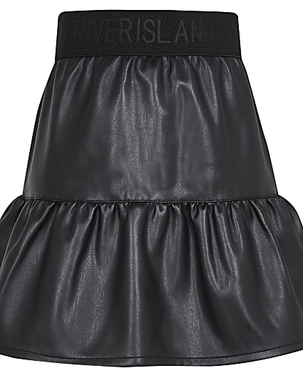 Girls black faux leather tiered skirt