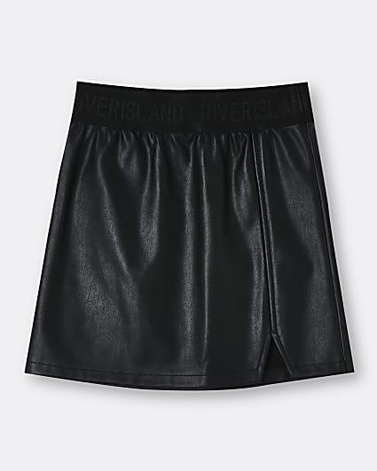 Girls black faux leather waistband skirt