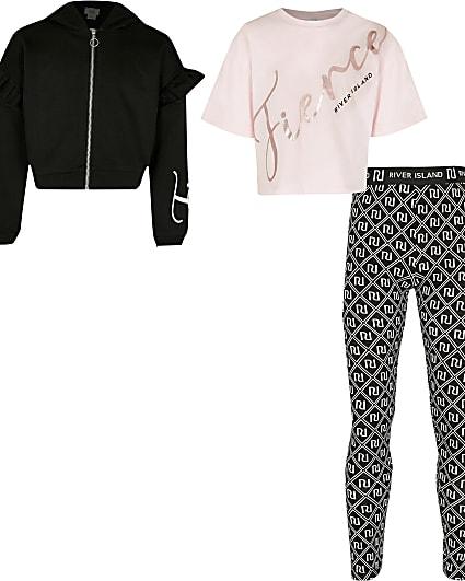 Girls black 'Fierce' print 3 piece outfit