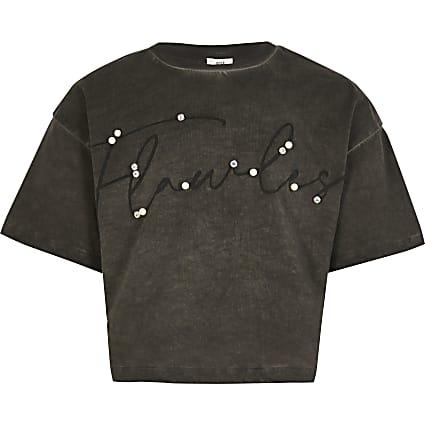 Girls black 'Flawless' cropped T-shirt