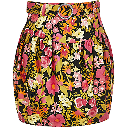 Girls black floral belted tulip skirt