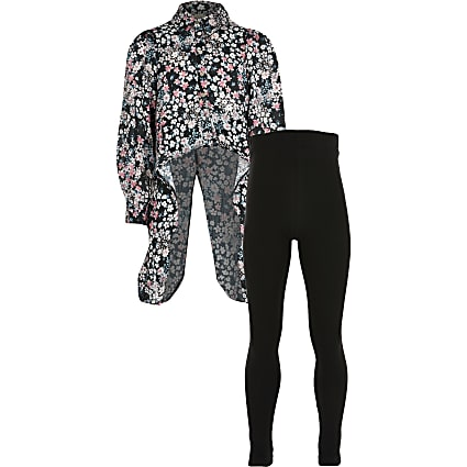 Girls black floral dip hem shirt outfit