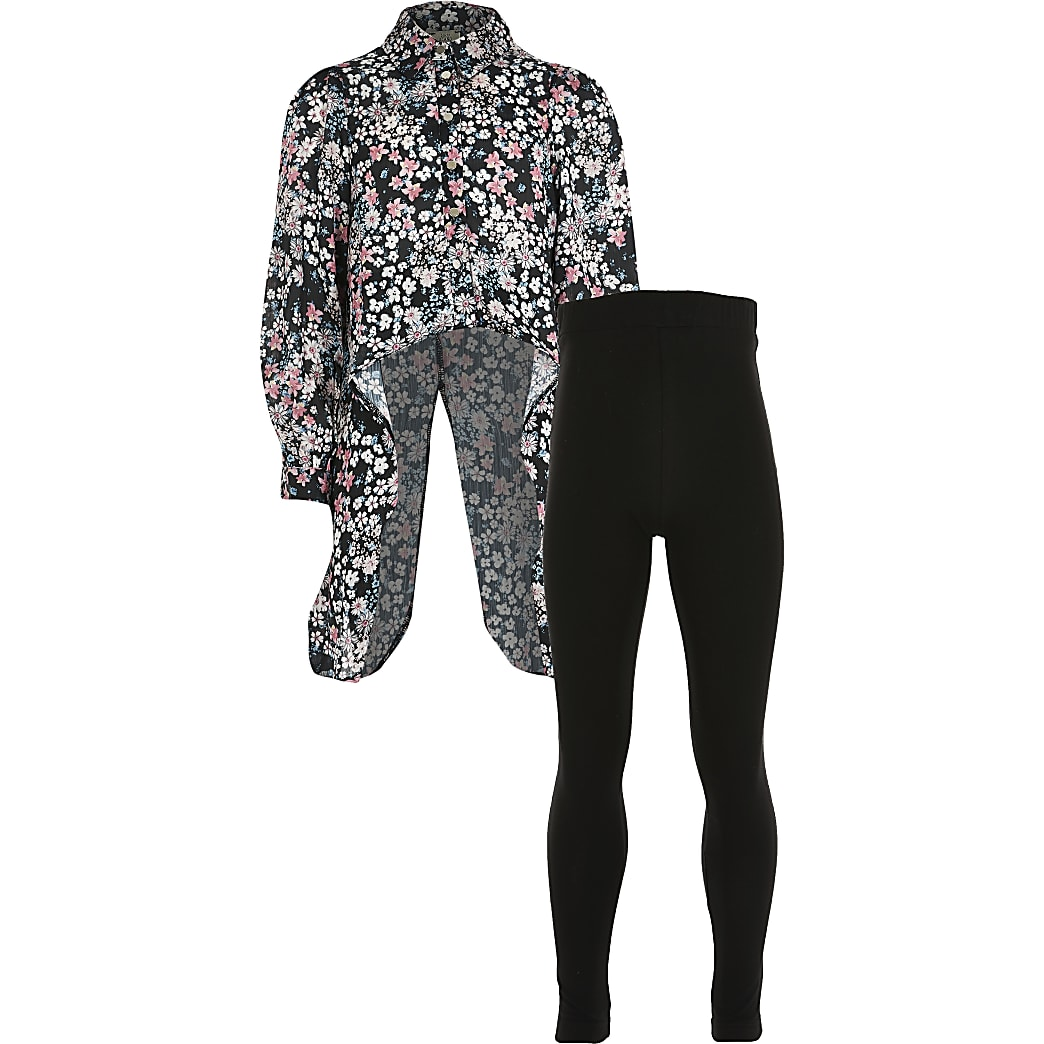 Girls black floral dip hem shirt outfit