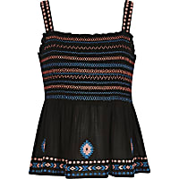 Girls black floral embroidered cami top