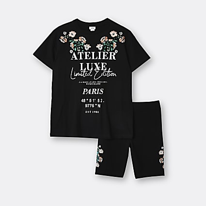 Girls black floral embroidery t-shirt outfit